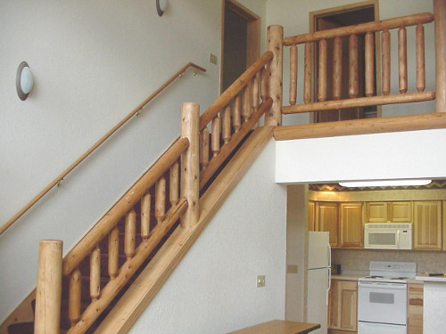 Log stair railing