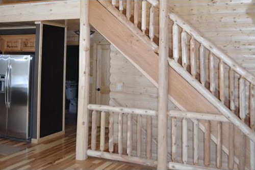 Log stair railings