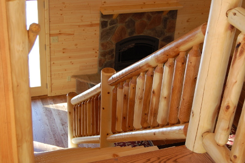 Log Stair Rail