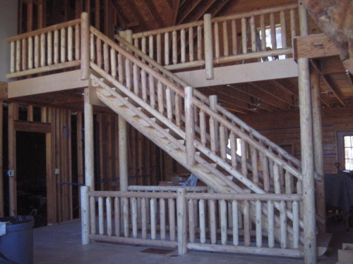 Log Stairway and Stair Railing