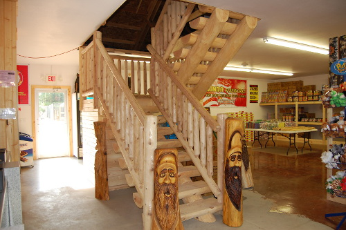 Log Stairway and Log Stair Rail