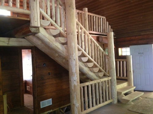 Log Stairway and Log Stair Railing