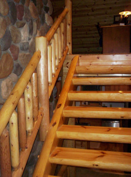 Mortise and Tenon Log Stairway